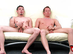 Two broke straight boys jerk off to each other for cash