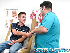 College boy gets felt up by doctor in the exam room