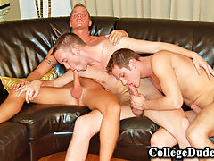 Shane and shawn have fun with landon in this hotterthanever threeway after some generous dick slurping landon gets down to business as shane and shawn take turns on his ass