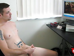 Straight boy jerks off while watching str8 porn