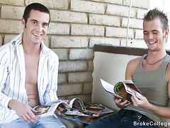 Two hot college boys jerk each other off for cash