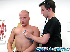 College boy luke gets an oral exam by his doctor